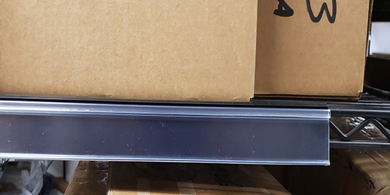 Price Tag Molding Ticket Holder for Wire Metro Shelving with Promo Grip - Black - Clear Protective Window 20/pack