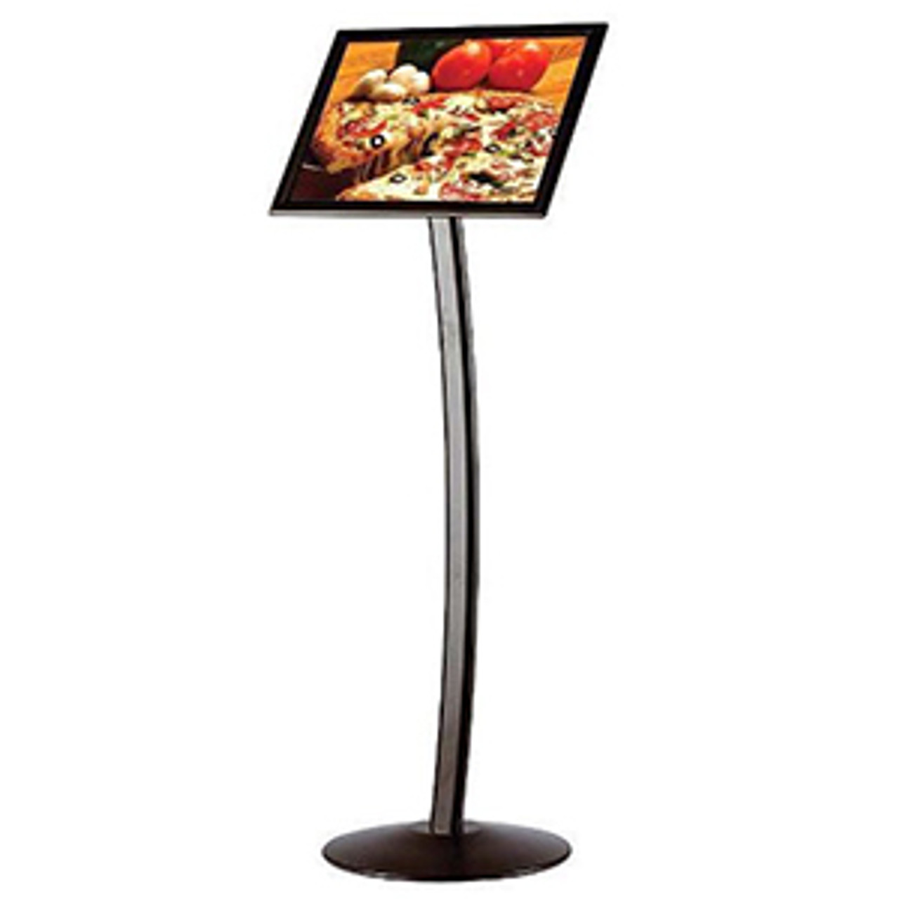 """11""""w × 17""""h Curved FIoor Sign Stand & Menu Stand - BIack"""
