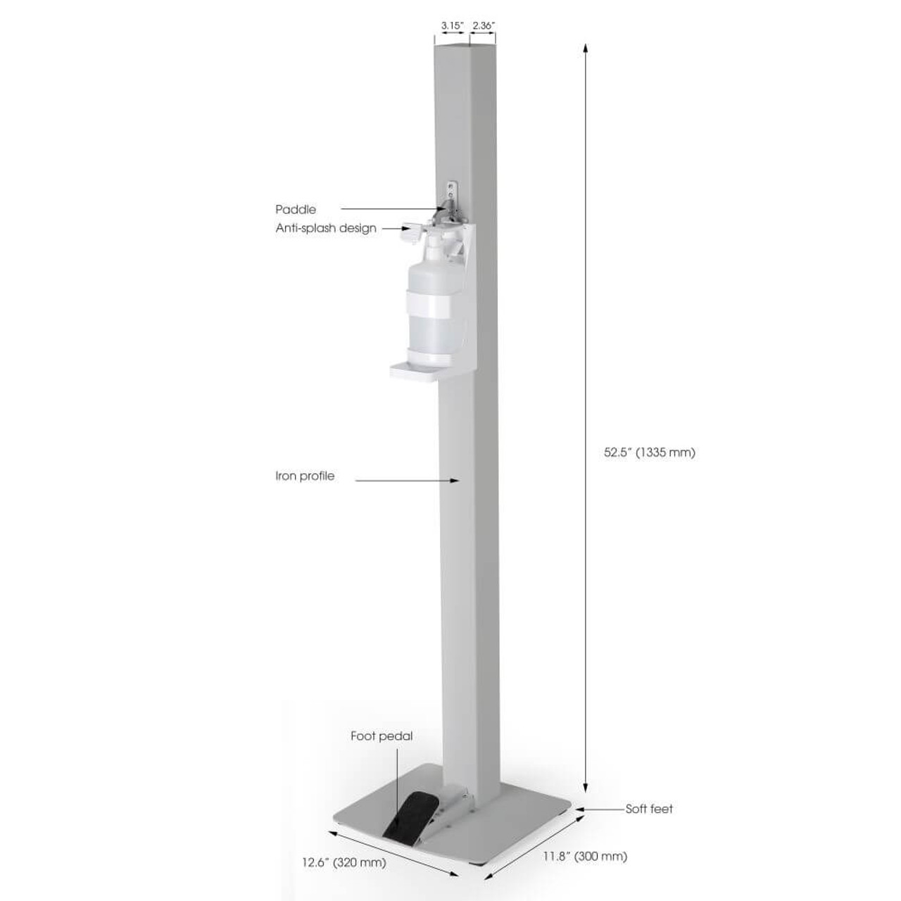 Touchless Hand Sanitizer Dispenser - Grey - Manual Foot Operated with dimensions