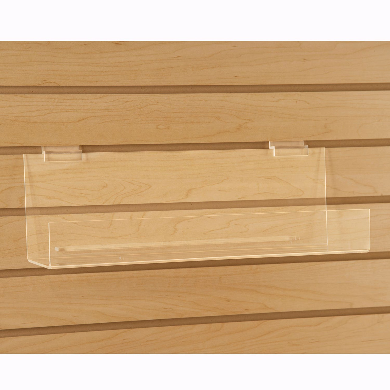 """ACRYLIC BOOK SHELF WITH 2"""" LIP FOR SLATWALL - 12""""L x 4""""D - 6/Pack"""
