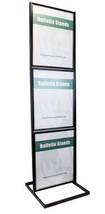 "Three-Tier Poster Stand Display - Black - 22""w x 28""h"