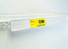 "Double wire cooler Shelf - Price Tag molding  - White - 28""L"