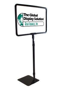 "Shovel Base Retail Sign Frame -  Adjustable Stem -  Black Finish Metal - Displays 11""w x 7""h Sign"