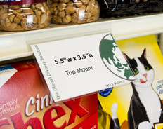 """Clear retail sign sleeve clips into standard 1.25 inch channels for displaying 5.5""""w x 3.5""""h  signs on retail shelves."""