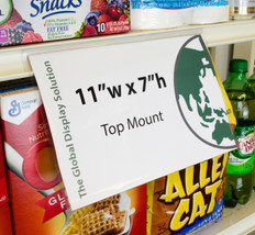 Sign protector snaps into standard retail shelving to display an 11 x 7 sized graphic