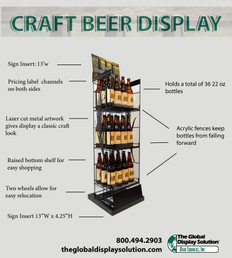 Craft beer display for merchandising in stores with graphic inserts