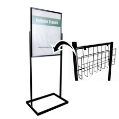 Poster stand with letter-size brochure holder kit