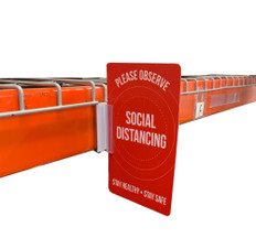 Magnetic sign holder with social distancing reminder sign made from .030 styrene