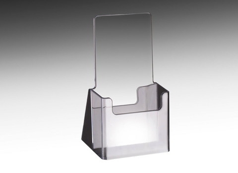 Clear acrylic brochure holder for displaying tri fold collateral.