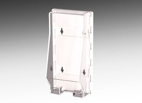 Acrylic brochure holder for displaying tri fold brochures in all weather conditions or inside.