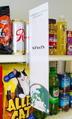 "Display highly-visible 16- 1/2""w x 5""h  graphics using this clear sign sleeve.  Attach to shelf channels using our sign grippers."