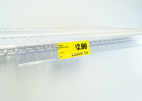 """Double wire cooler Shelf - Price Tag molding  - Clear - 28""""L"""