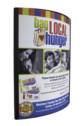 "Curved 22""x 28 wall mount poster frame for displaying signs on walls of retail stores and facilities."