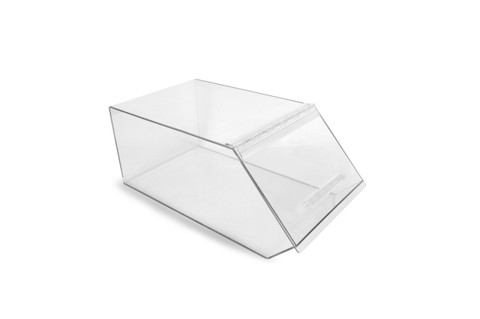 Acrylic merchandising bin, customized to fit your stores needs.