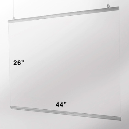 Hanging Safety Sneeze Guard - 44 x 26