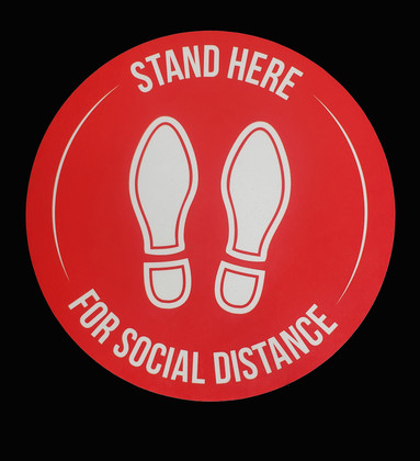 Floor Decals  - Social Distancing - Red Color 5/Pack