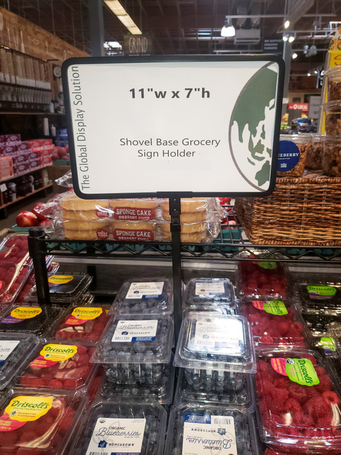 "Shovel Base Grocery Sign Holder - Fixed Stem - Black - 11""w x 7""h"