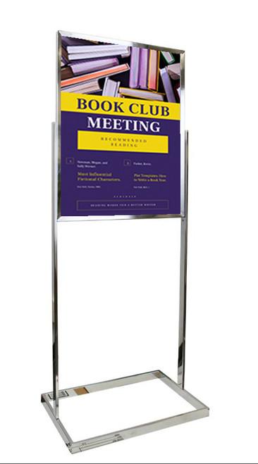 "Premium Poster Stand Display - Chrome - 22""w x 28""h Insert"