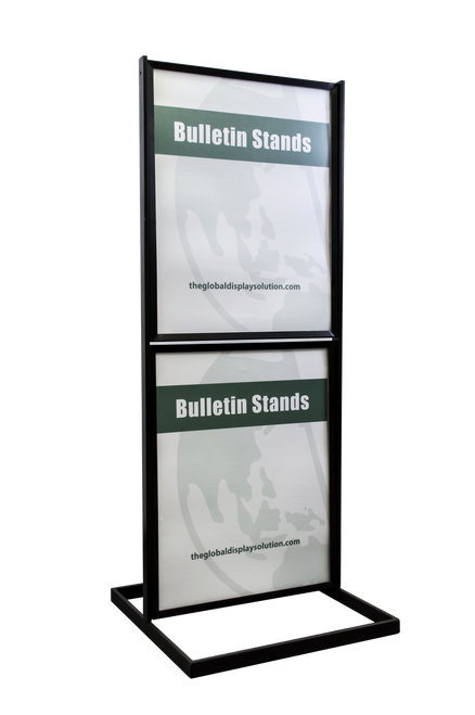 """Two-Tier Poster Stand Display - Black - 22""""w x 28""""h"""