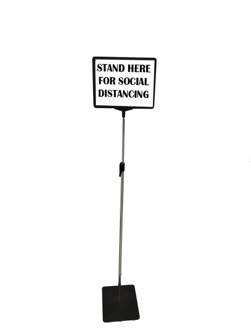 "Pedestal Sign Holder -  11""w x 8.5""h - Adjustable Height 48""-72"""
