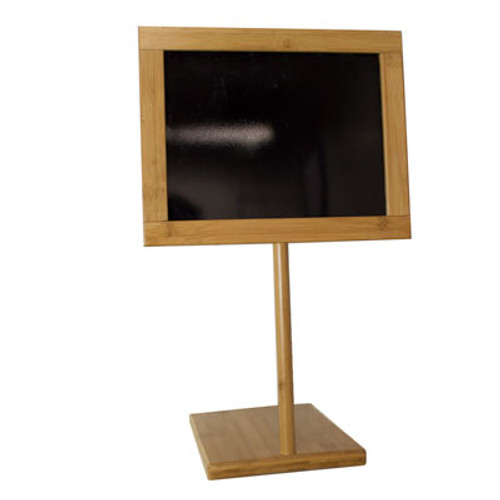 Bamboo sign holder includes a chalkboard insert.