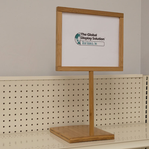Use print signs with bamboo pedestal sign holder