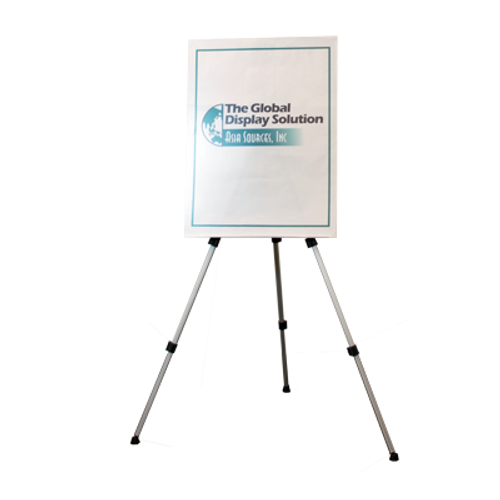 Brushed Aluminum Easel for displaying rigid posters.
