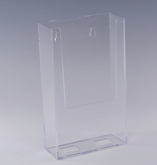 "Wall Mount Styrene Brochure Holder for 4""w x 9.5""h collateral"