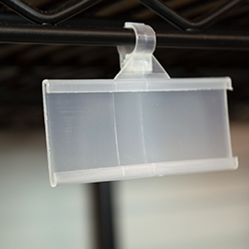 Hanging C-channel ticket holder for retail merchandising wire shelves.  Perfect for displaying labels in warehouses and store rooms too!