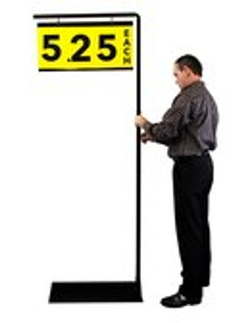 "Super Workman Pallet Sign Holder with adjustable height made from steel with black powder coat finish.  Adjustable to (3) heights: 84""h, 72""h, 60""h"