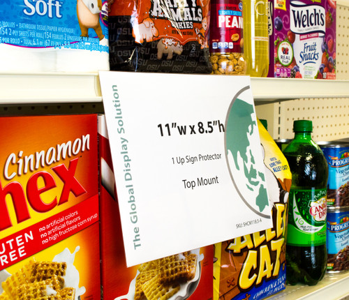 """Shelf edge sign sleeve displays 11""""w x 8.5""""h signs  by clipping into standard 1-1/4"""" shelf channels. Perfect for advertising on grocery store endcaps and aisles. Flexible plastic """"shops"""" out of the way."""