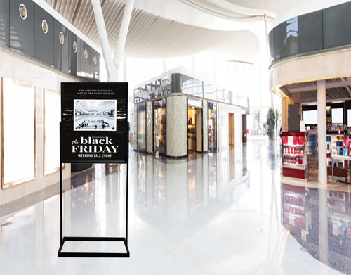 Premium poster stand - Displays 22 x 28 graphics in mall setting