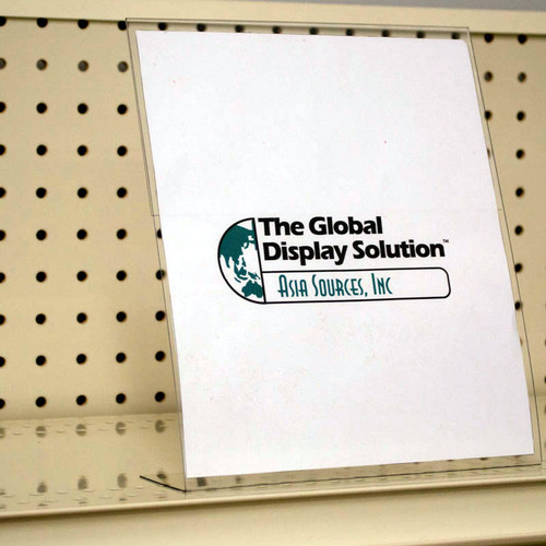 Clear Sign protector for us on shelves and case stacks. Displays standard letter size paper signs.