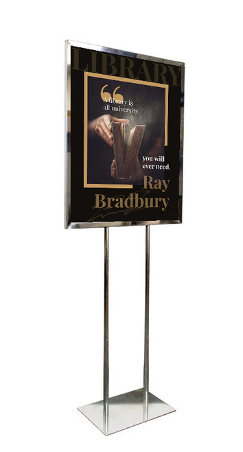 """Economy Poster Stand Display - Chrome - 22""""W X 28""""H"""