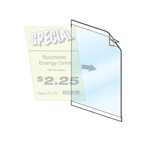 Reusable Frame for displaying notices and signs on glass surfaces and smooth flat surfaces.