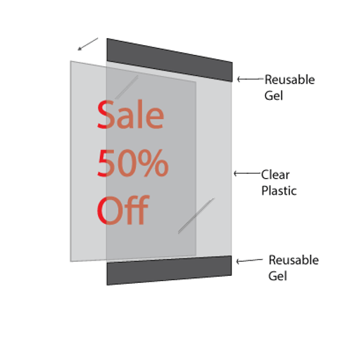 """Reusable Frame 11""""w x 8.5""""h 1/2"""" Black Border - Landscape - 5/Pack - tape and mess free"""