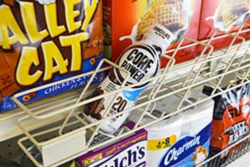 Wire drink extender attaches to standard retail shelves