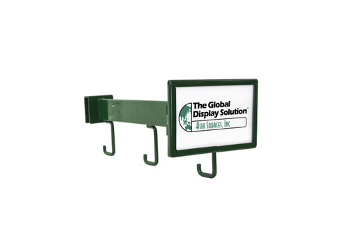Angled faceout with 3 hooks for hanging product and a sign holder.
