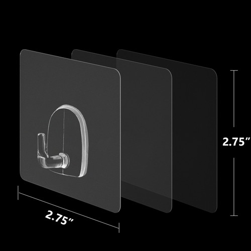 "STICKIT HANGING HOOKS - TRANSPARENT - 4/PACK -2.75"" x 2.75"""