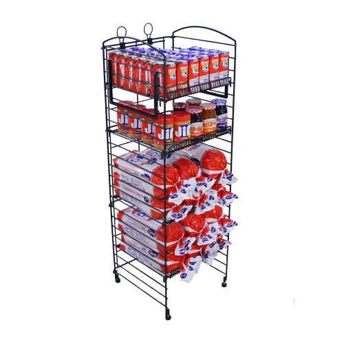 Fold Up Wire Display Rack - (5) Shelf -  Black