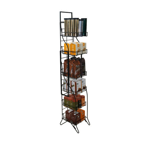 Ornate Fold-Up Display Rack - (6) Shelf -  Black