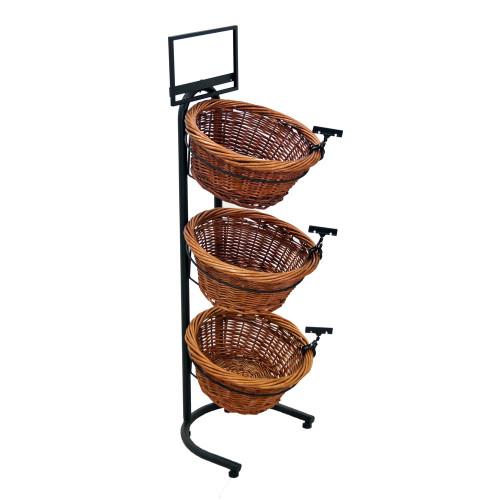 Willow Basket Floor Display Rack - (3) Shelves
