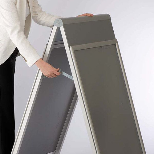 "A-Frame Sidewalk Sign Holder with Changeable Header-Silver-30""W x 40""H"