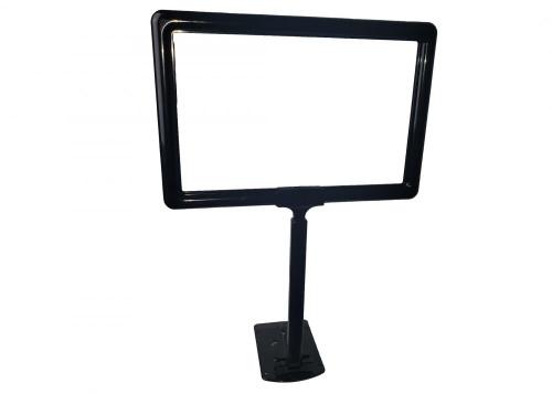"""Shovel Base Grocery Sign Holder - Plastic - Adjustable Stem - Black 11""""w x 7""""h"""