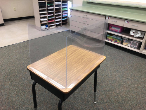 Office/Education Desk Sneeze Shield - Clear Plastic - Adhesive Base