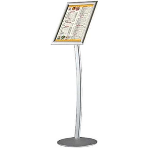 """8.5"""" × 11"""" Curved FIoor Sign Stand & Menu Stand - SiIver - Single Sided"""
