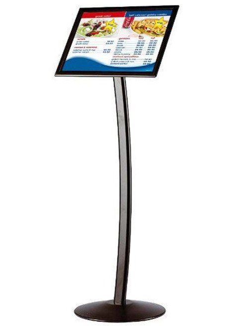 """8.5"""" × 11"""" Curved FIoor Sign Stand & Menu Stand - BIack - Single Sided"""