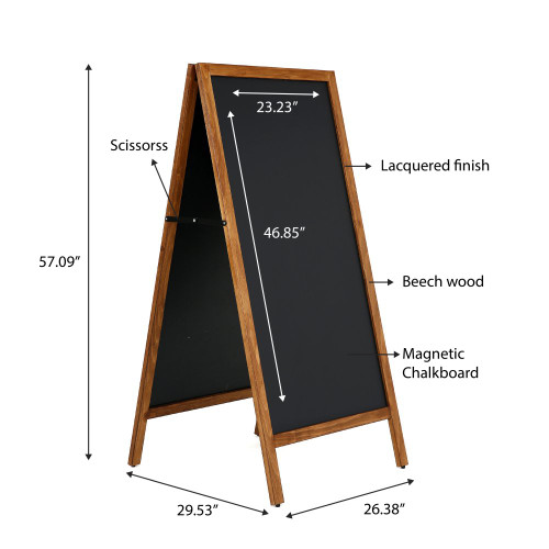 "A-Frame Sidewalk Sign - Dark Beech Wood- 23.6""w x 47.25""h -Double Sided - Magnetic Chalkboard  - Indoor or Outdoor"