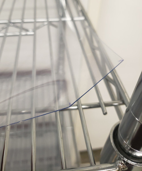 PVC shelf liner for wire shelf. Notched corners to have a perfect fit.