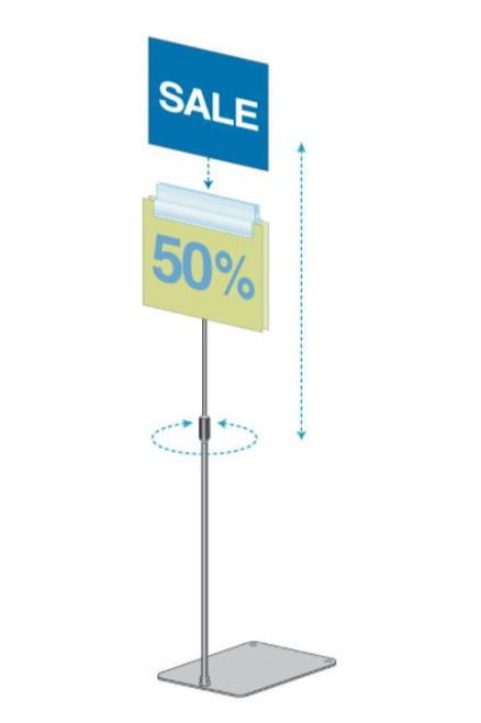 THREE GRIP, TELESCOPIC EDGE STEM, ADJUSTABLE SIGN HOLDER WITH SIGNAGE